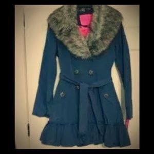 Betsey Johnson Navy Blue Rain/Trench Coat NEW